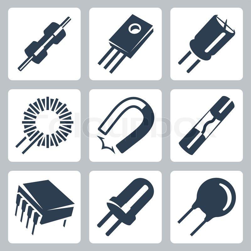 Niedlich Elektronikkomponenten Und Symbole Ideen - Elektrische ...