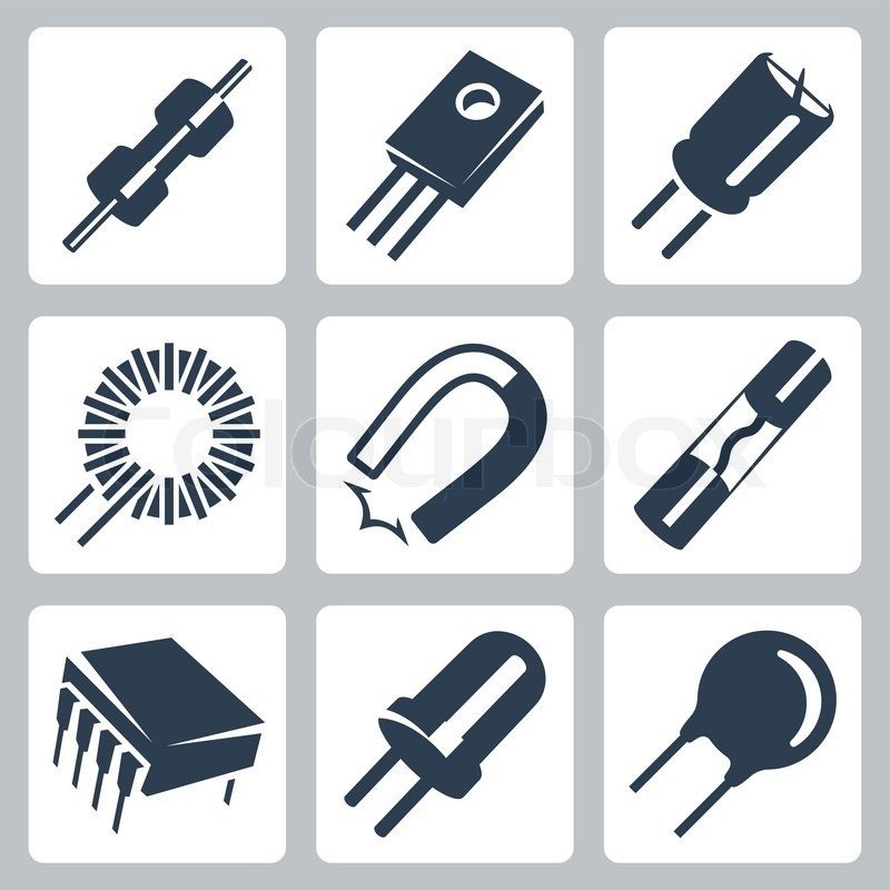 Vektor Elektronikkomponenten Icons Set: Widerstand, Transistor ...