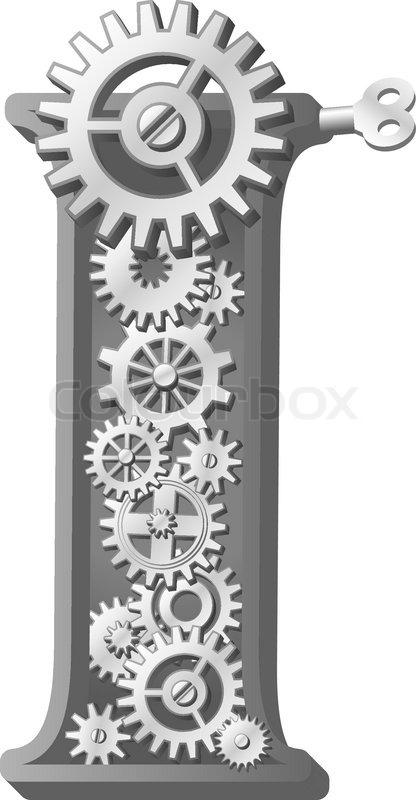 mechanical alphabet   gears letter  stock vector colourbox
