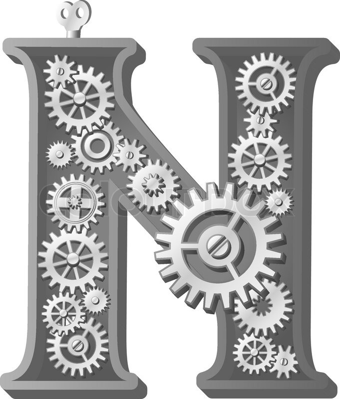 Mechanical Alphabet Made From Gears Letter N Stock