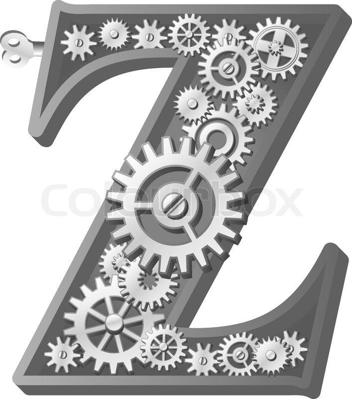 Mechanical Alphabet Made From Gears Letter Z Stock