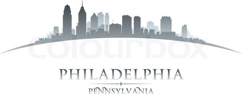 Philadelphia Pennsylvania City Skyline Silhouette Vector