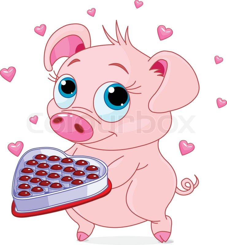 Cute Little Piglet Holding A Heart Shape Valentine Box Of Chocolates |  Stock Vector | Colourbox