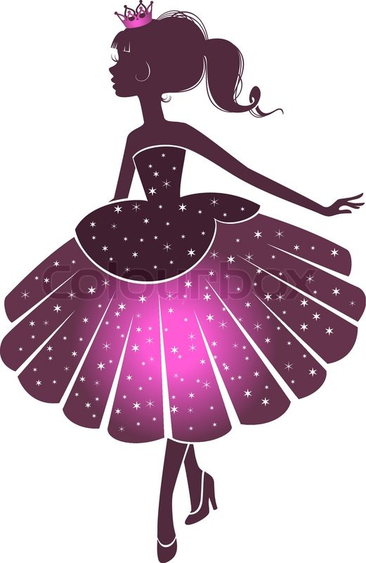silhouette of a beautiful princess isolated on a white