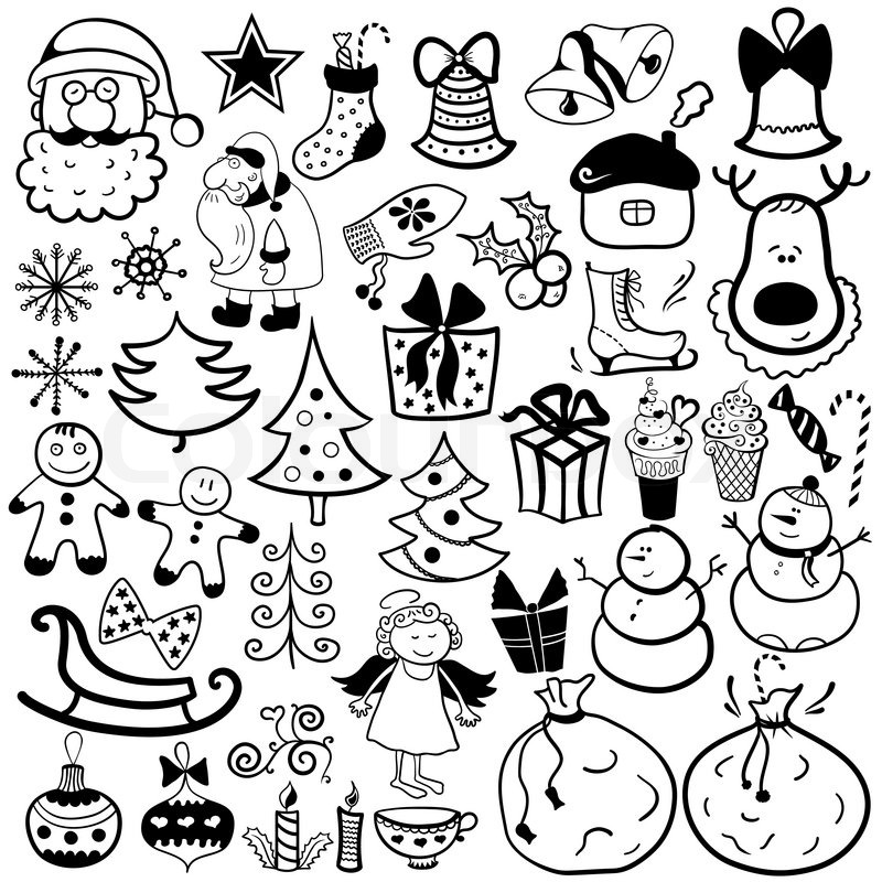 Weihnachten-Icon-Set, schwarz / weiß-element | Vektorgrafik | Colourbox