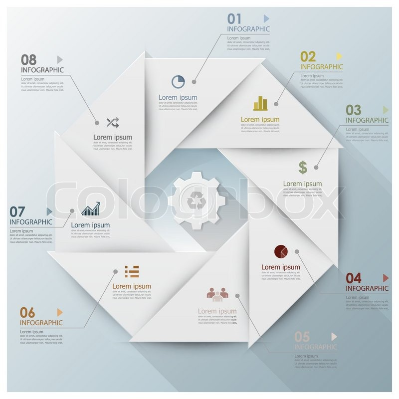 Modern Business Infographic Propeller Origami Style Design Template