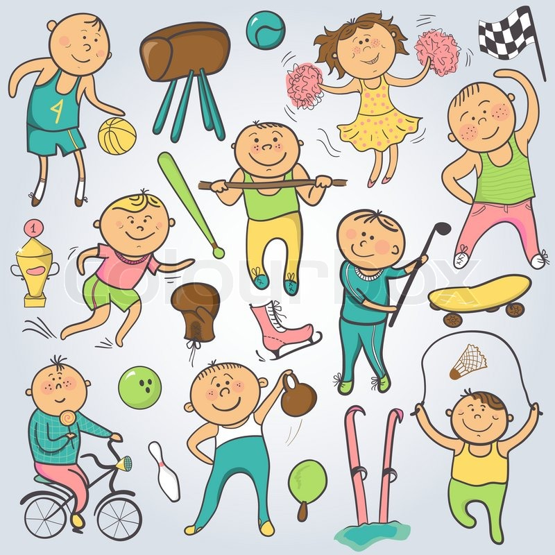 Vector Cartoon Sport Players Champion Sportsmen Doodle