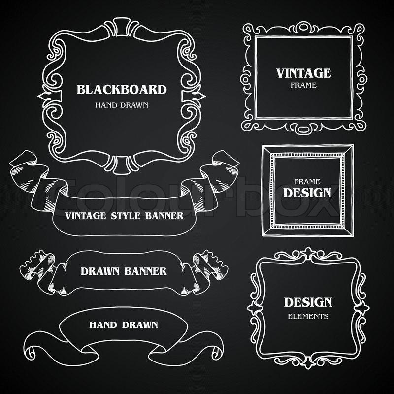 Vintage Tafel Foto Rahmen Set, Zeichnung Doodle-Stil, antike ...
