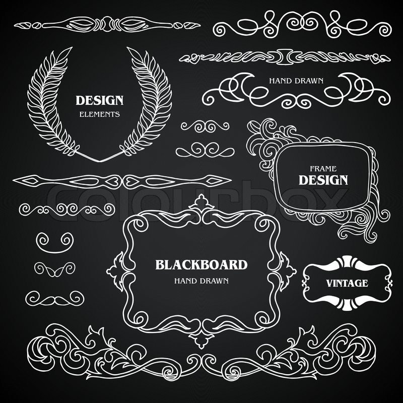 vintage style chalkboard design elements set of drawing. Black Bedroom Furniture Sets. Home Design Ideas