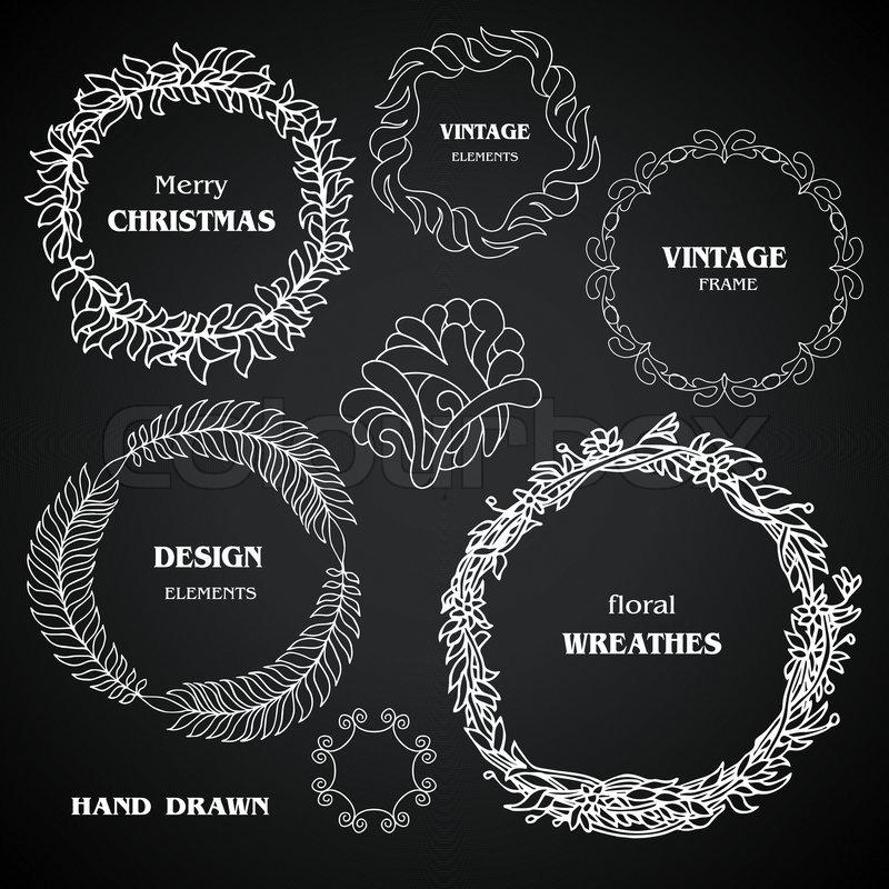 Stock vector of vintage chalkboard wreaths vignettes and frames set