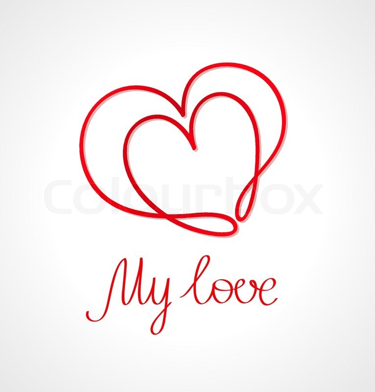 Heart Symbol And Hand Written Text Valentine Card Stock Vector
