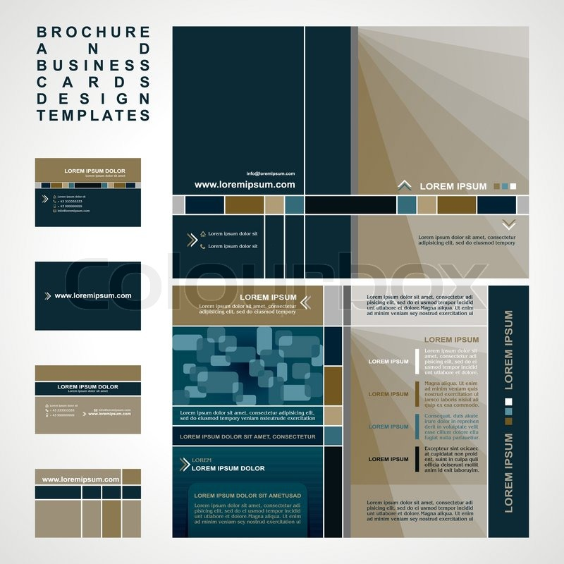 Brochure And Business Cards Design Templates Collection Retro - Business card template for pages