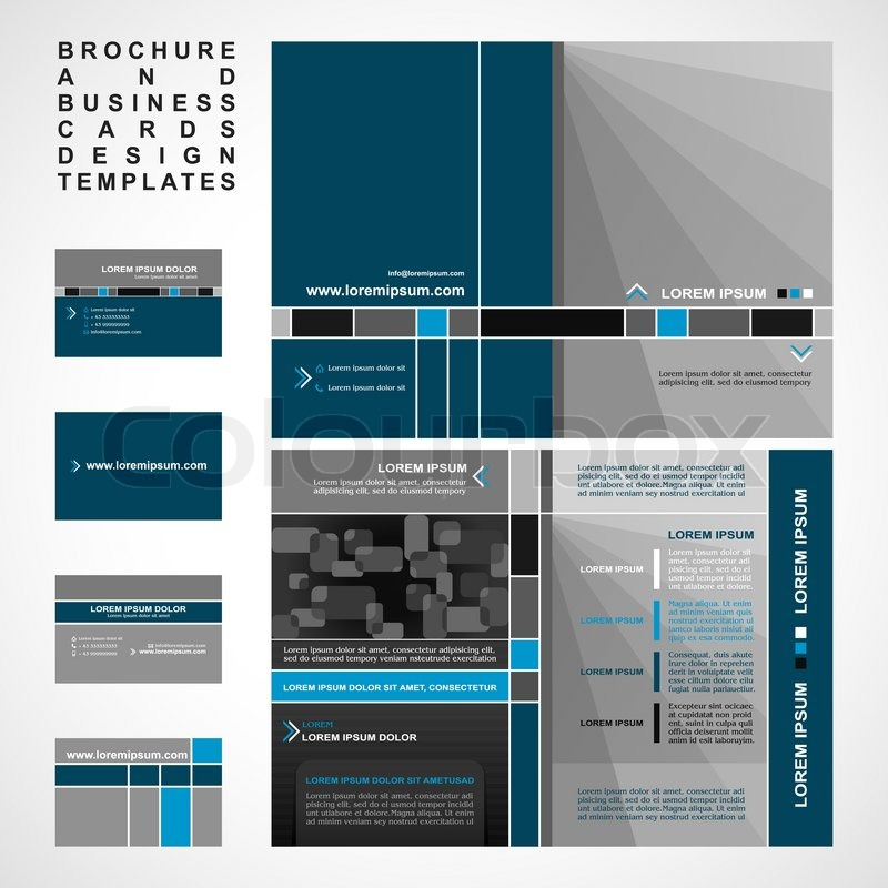 brochure and business cards design templates collection retro style with modern elements pages. Black Bedroom Furniture Sets. Home Design Ideas