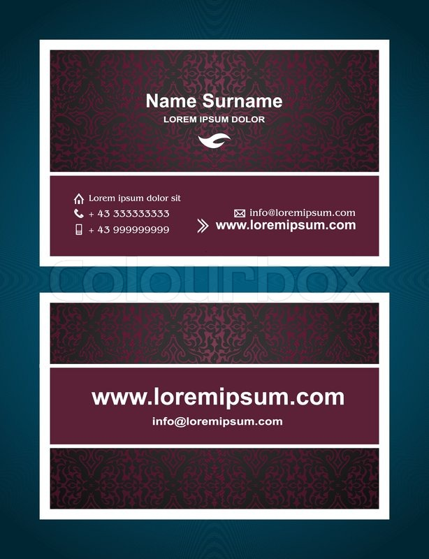 Business Card creative design, elegant vintage style print ...