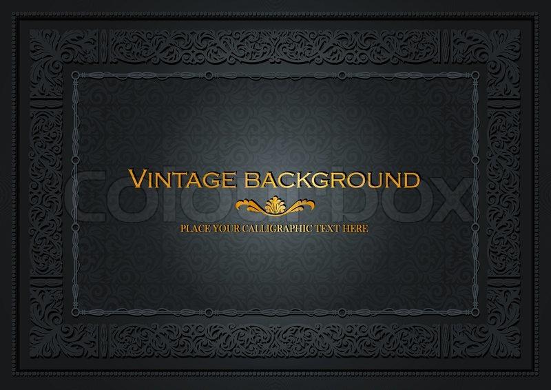 Vintage Book Cover Design Template Free : Vintage dark background antique style frame victorian