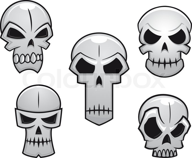 Cartoon skulls set with danger emotions for halloween holiday ...
