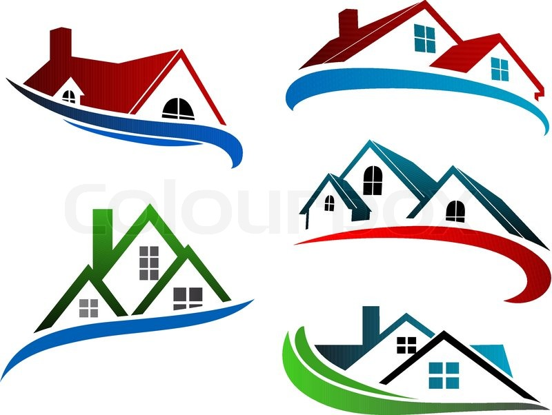 Superior Building Symbols With Home Roofs For Real Estate Business Design, Vector