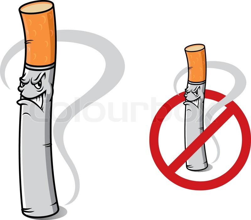 Prohibition Sign No Smoking With Cartoon Danger Cigarette