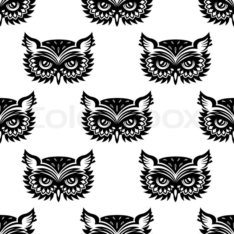 Seamless Pattern With Black Owl Head Stock Vector Colourbox