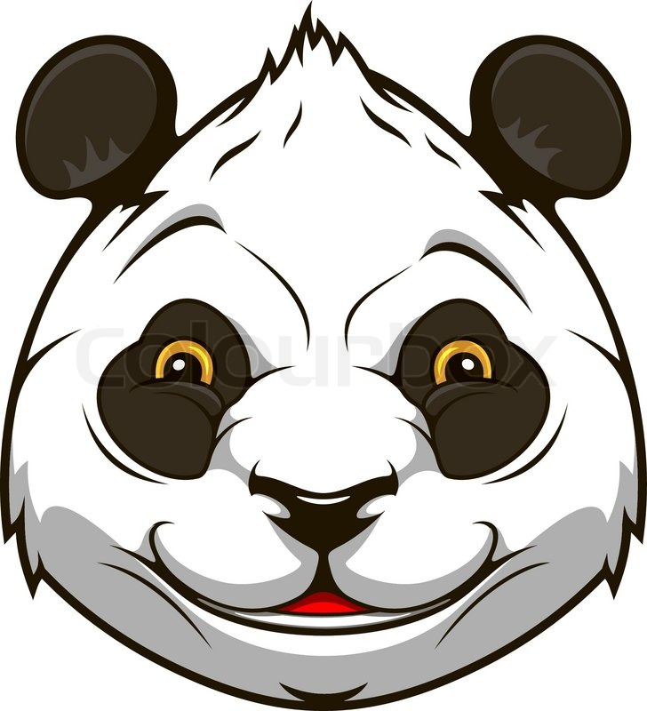 cartoon panda bear head for mascot design stock vector colourbox