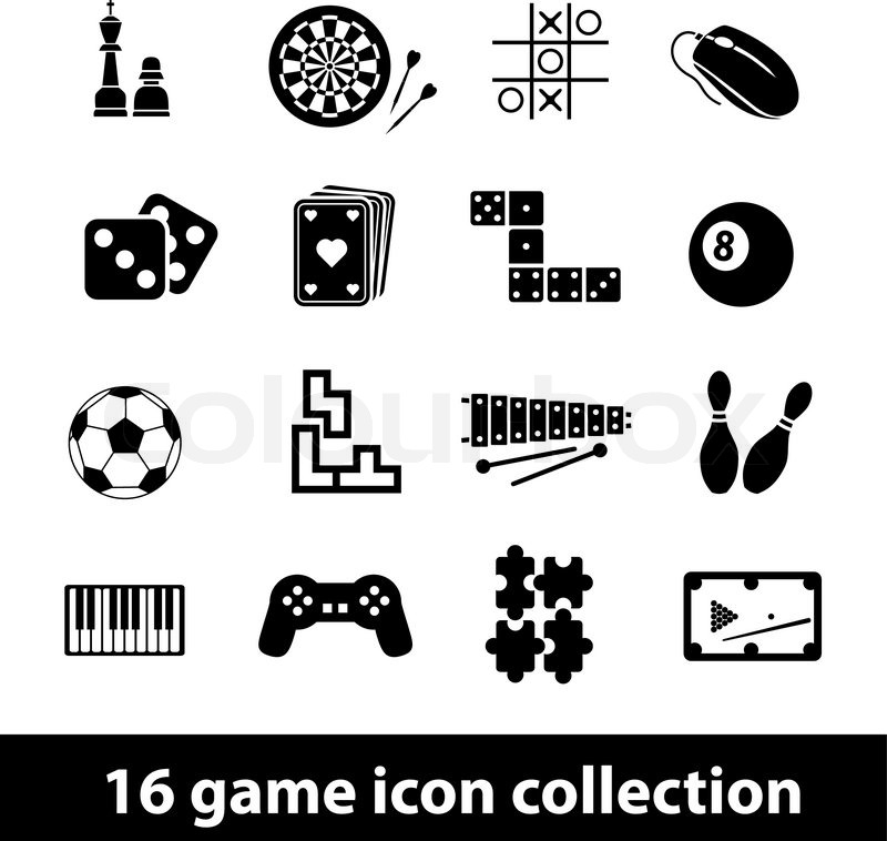 16 Game Icon Collection Stock Vector Colourbox