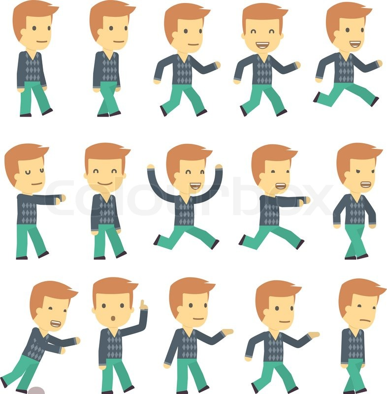 Cartoon Character Design Vector : Urban character set in different poses simple flat design