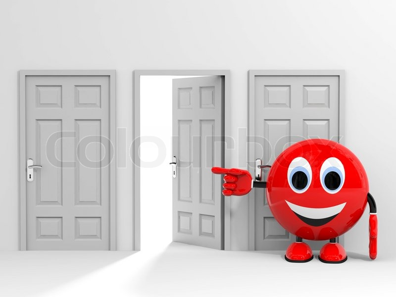 Exit. Entrance. Choice. Pointing At Open Door. 3D Render Image, Stock Photo