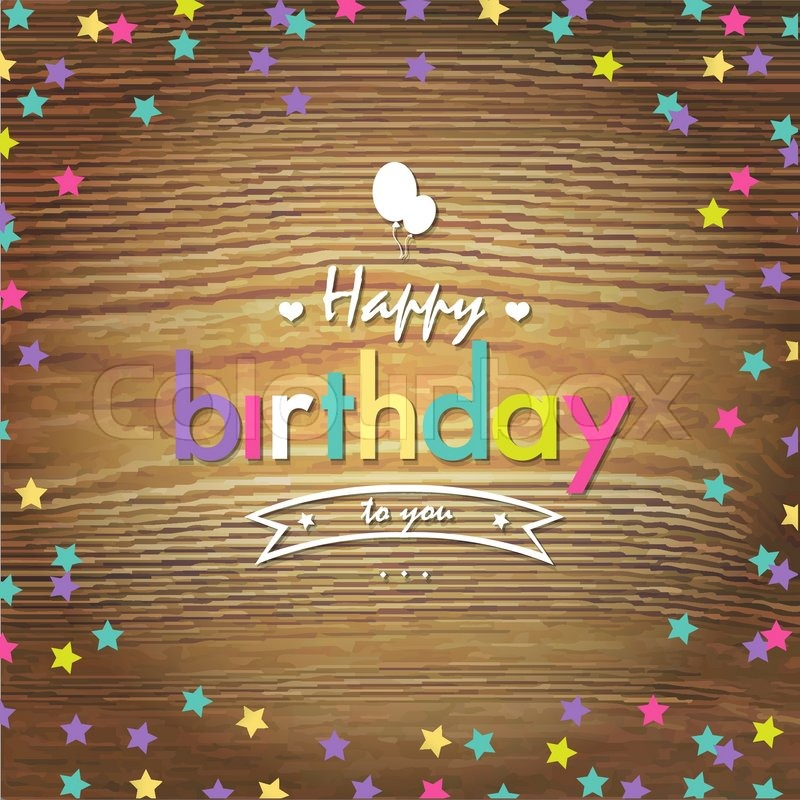 Happy Birthday Card With Color Stars Vector Illustration