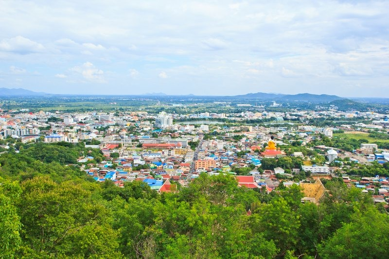 High angle view of the city in Nakhon Sawan Province Thailand, stock photo