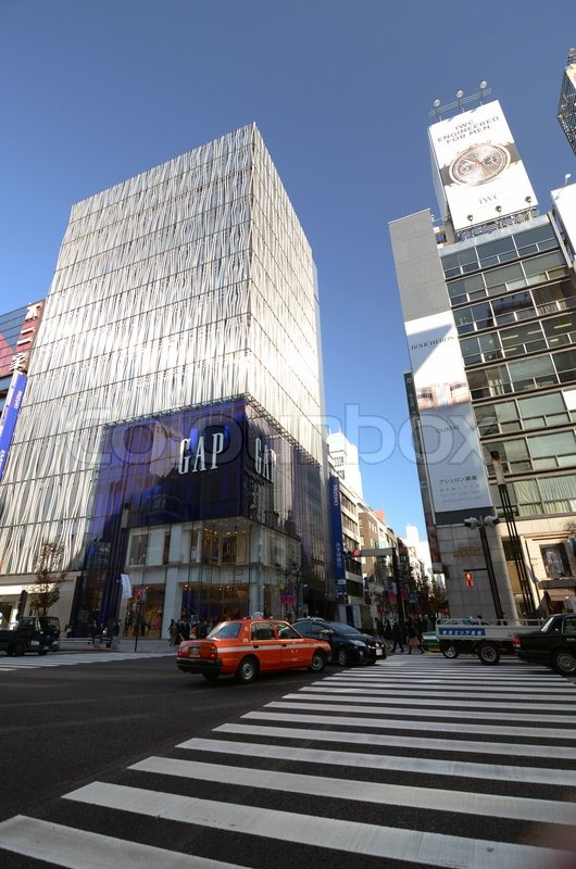 GINZA, JAPAN - NOV 26 : Modern building in Ginza area on November 26, 2013 in Tokyo. Ginza shopping area. The popular tourist spot in Tokyo. , stock photo