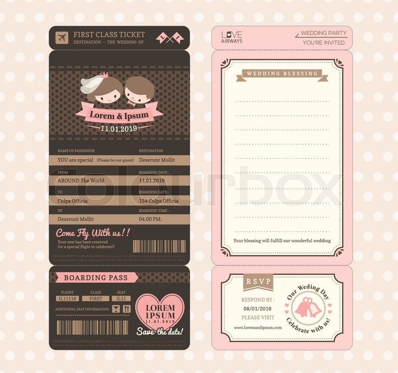 cute groom and bride vintage boarding pass ticket wedding invitation design template vector. Black Bedroom Furniture Sets. Home Design Ideas