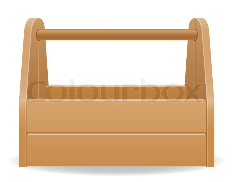 Wooden tool box vector illustration isolated on white ...
