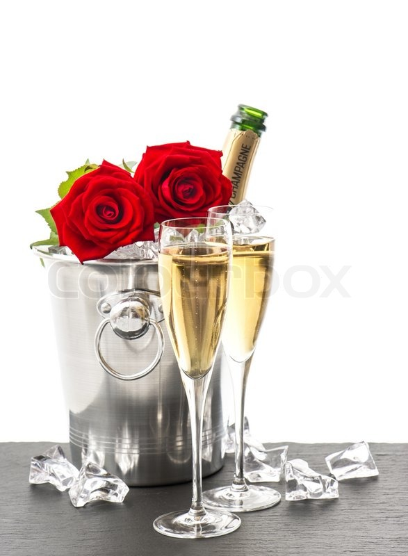 Bottle Of Champagne Two Glasses And Red Roses Festive
