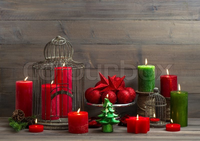 Vintage Christmas Background With Birdcage Burning Candles And