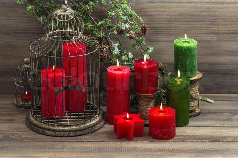 vintage weihnachten dekoration vogelk fig und rote kerzen. Black Bedroom Furniture Sets. Home Design Ideas