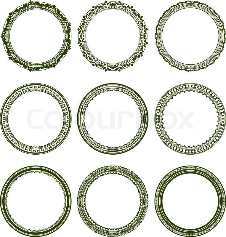 Lovely Set of 9 elegant round frames | Stock Vector | Colourbox MT28