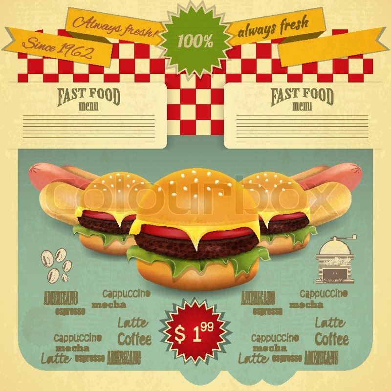 Retro Fast Food Menu Hamburger And Hot Dogs Vector