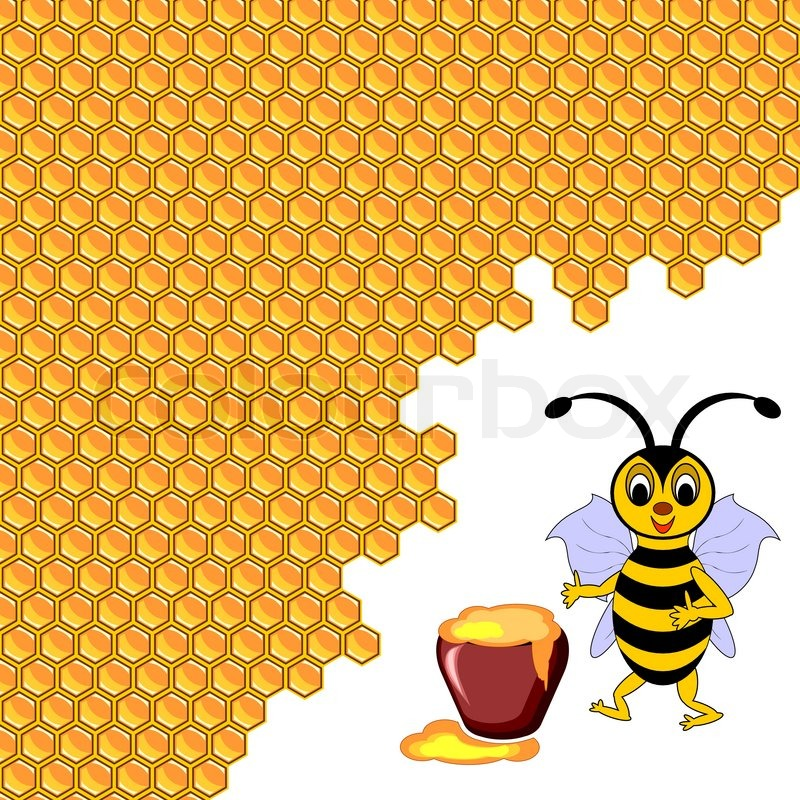 A Cute Cartoon Bee With A Honey Pot Surrounded By