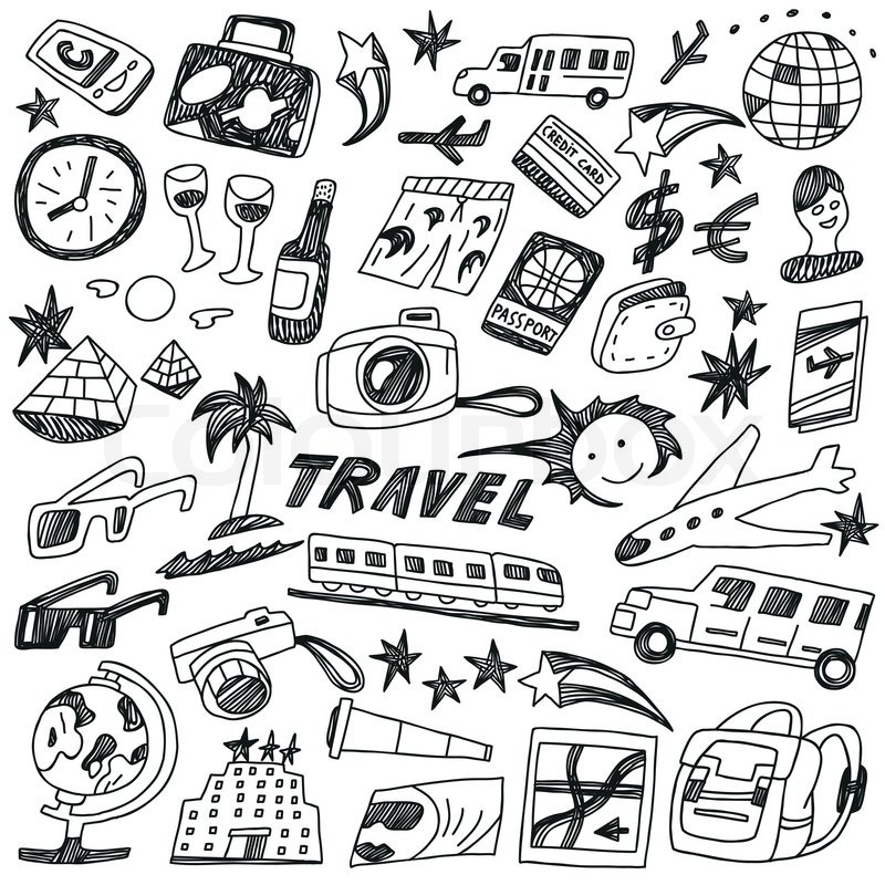 Travel Doodles Set Stock Vector Colourbox