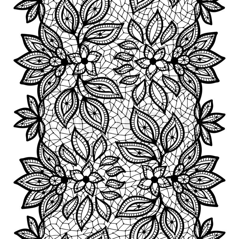 Old lace seamless pattern, ornamental border. Vector ...