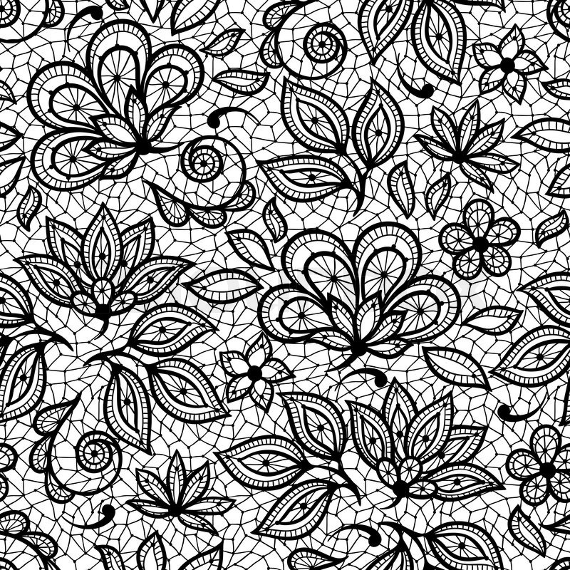 Vector Line Drawing Flower Pattern : Old lace seamless pattern ornamental flowers vector