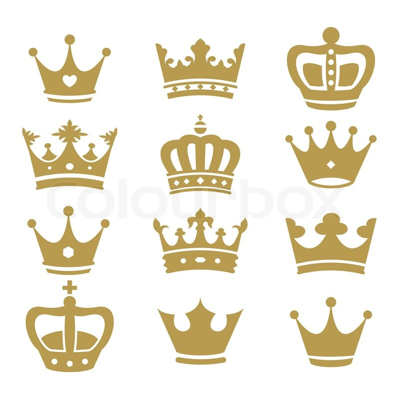 Stock vector of cartoon illustration castle isolated on white - Crown Collection Vector Silhouette Stock Vector