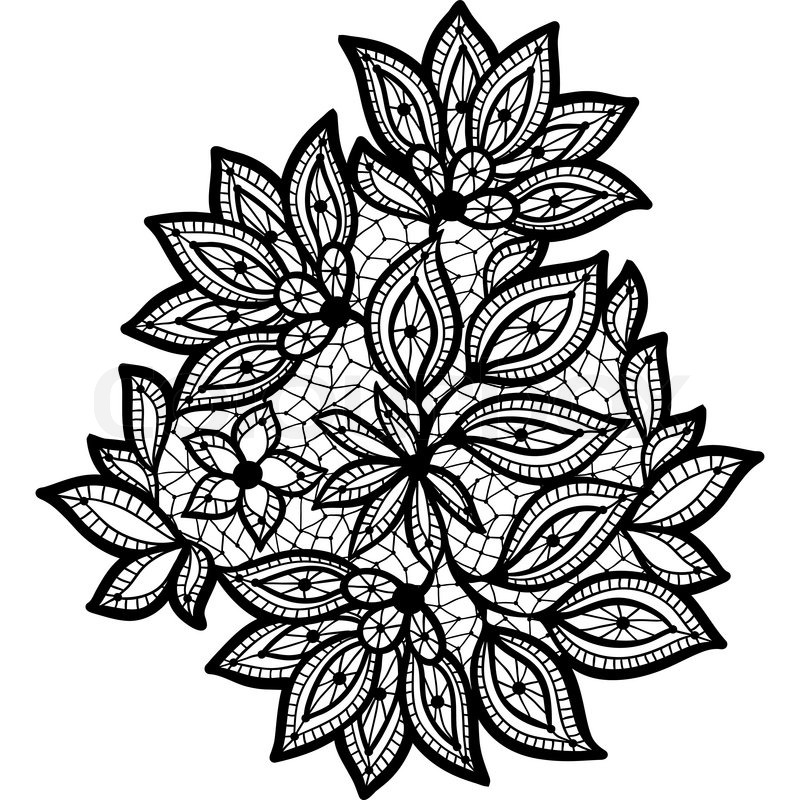 black and lace floral design isolated on white stock