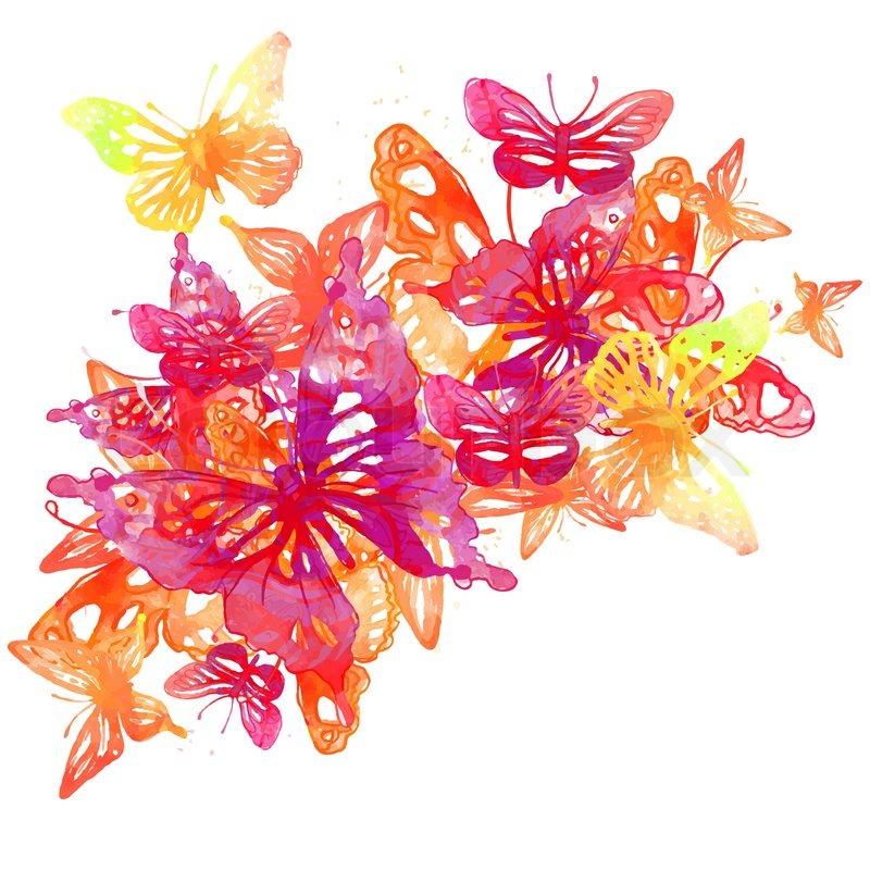 Amazing background with butterflies and flowers painted ...