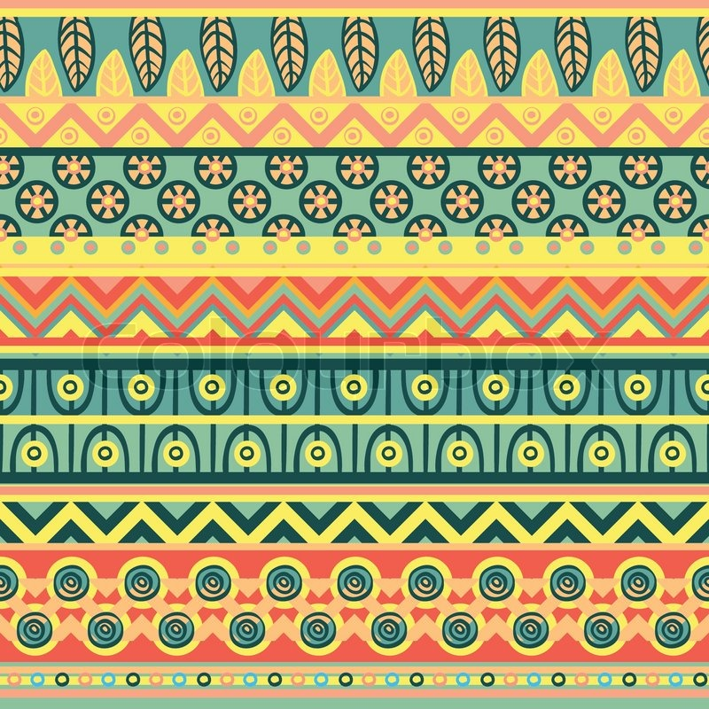 Ethnic Pattern In Retro Colors Aztec Style Seamless