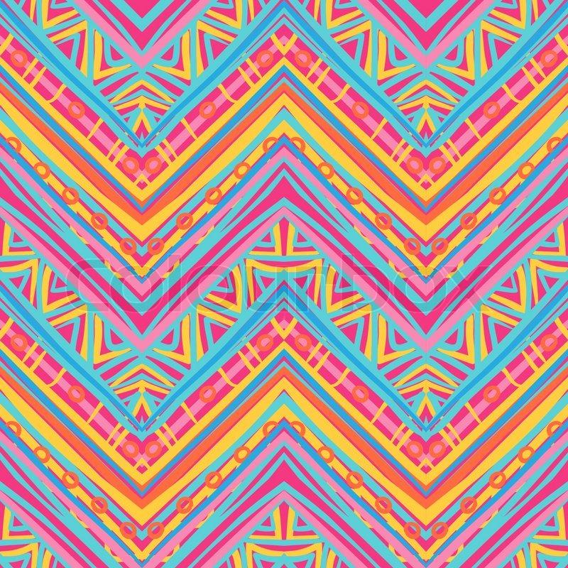 Ethnic Pattern In Retro Colors Aztec Stock Vector