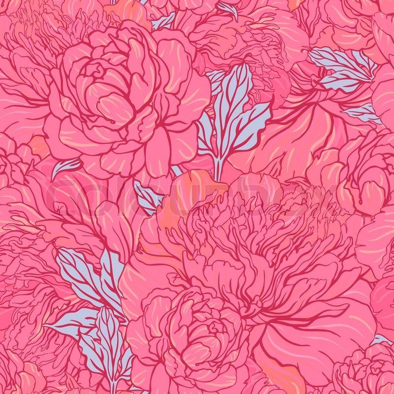 Elegant Seamless Color Peony Pattern On Gray Background Vector Illustration