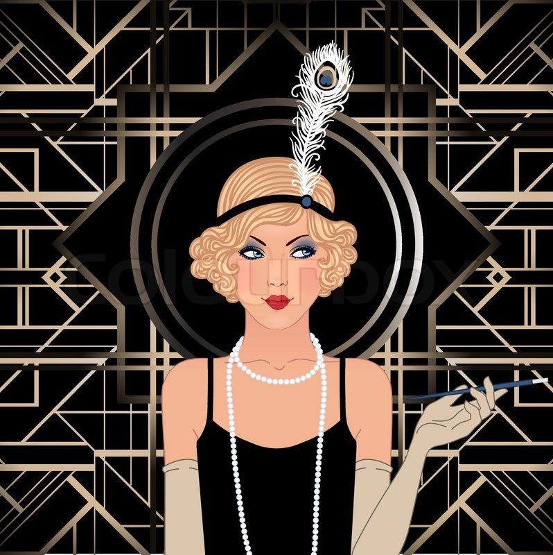 Flapper girl: Retro party invitation design. Vector ...