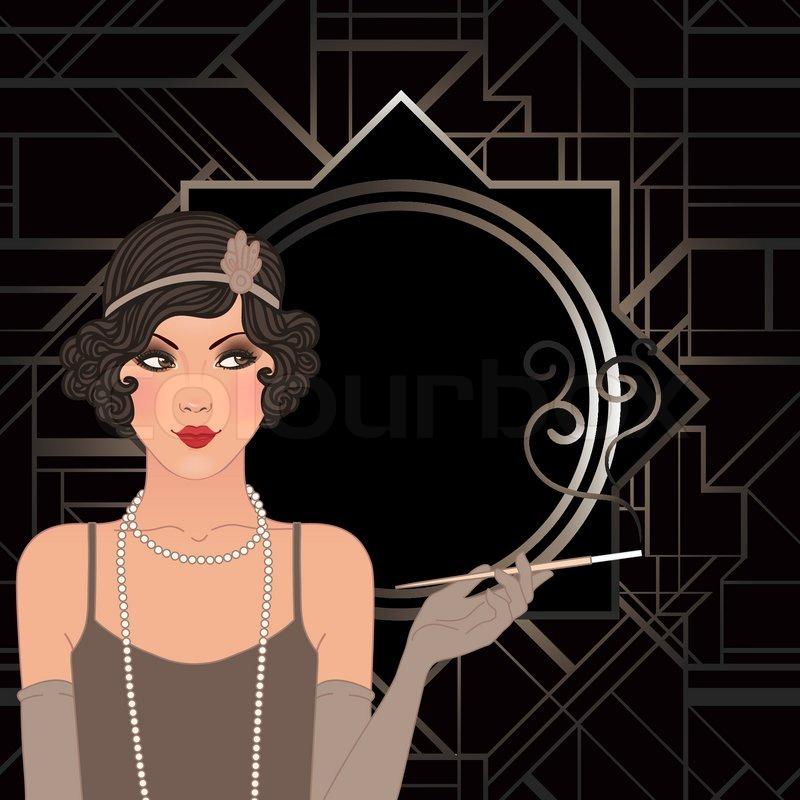 Flapper girl: Retro party invitation design. Vector ...