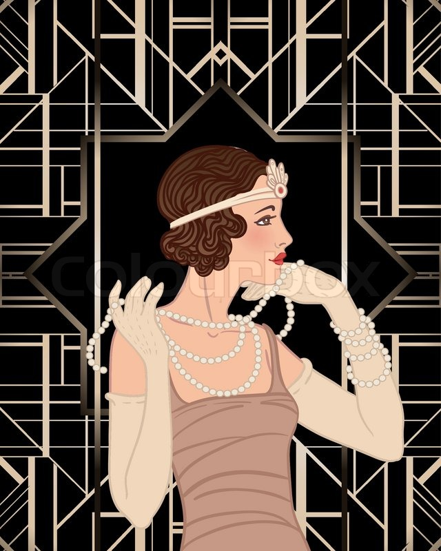 Flapper Girl Retro Party Invitation Design Vector